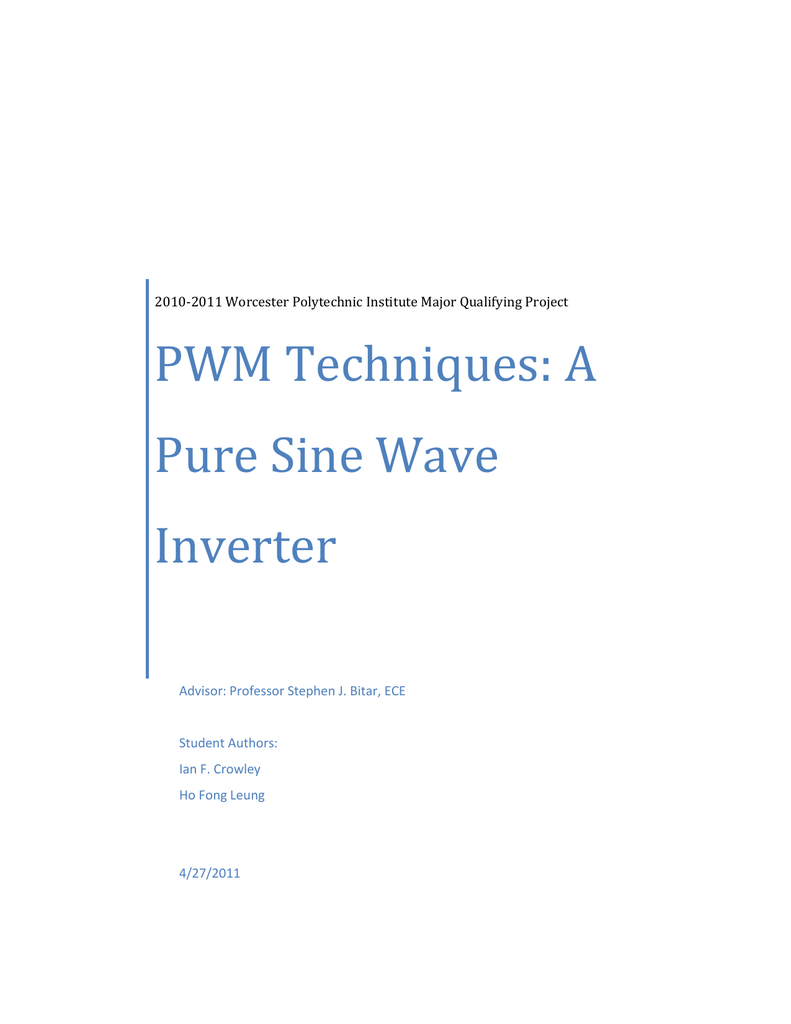 Pwm Techniques A Pure Sine Wave Inverter Circuit Power Transistor Stage