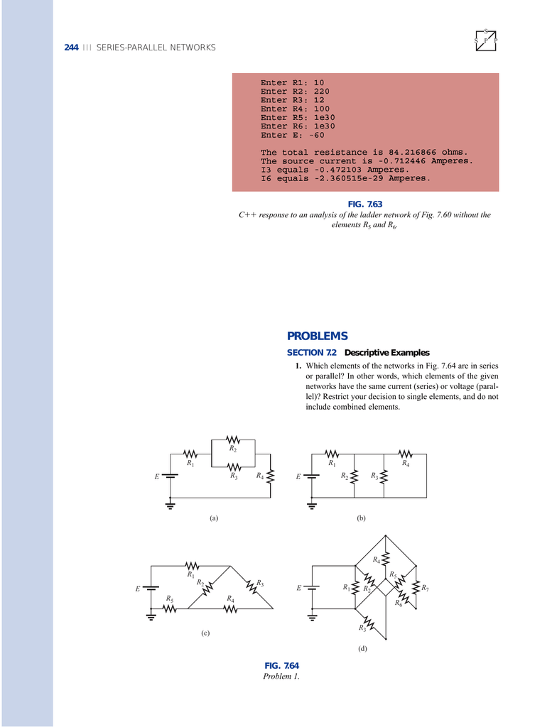 Hw Series Parallel Circuits Problems Components In A Circuit There Is Voltmeter V1