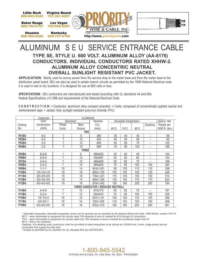 ALUMINUM S E U SERVICE ENTRANCE CABLE