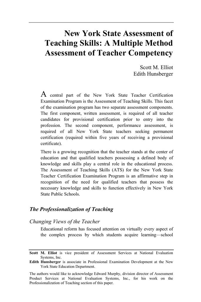 New York State Assessment Of Teaching Skills A Multiple Method