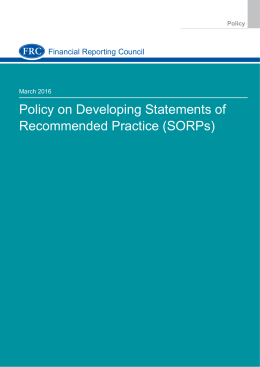 Policy on Developing Statements of Recommended Practice (SORPs)