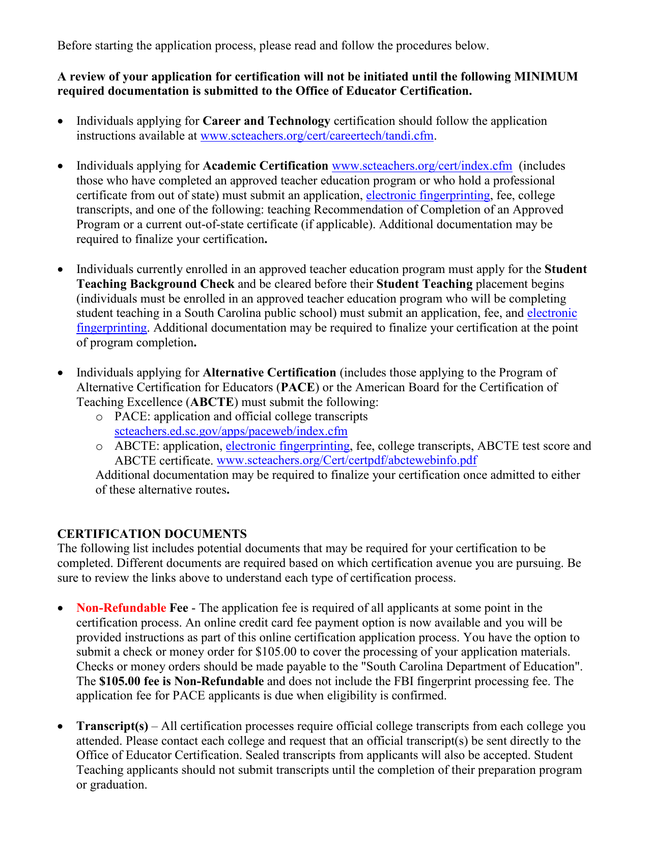 South Carolina Department Of Education Application For Educator