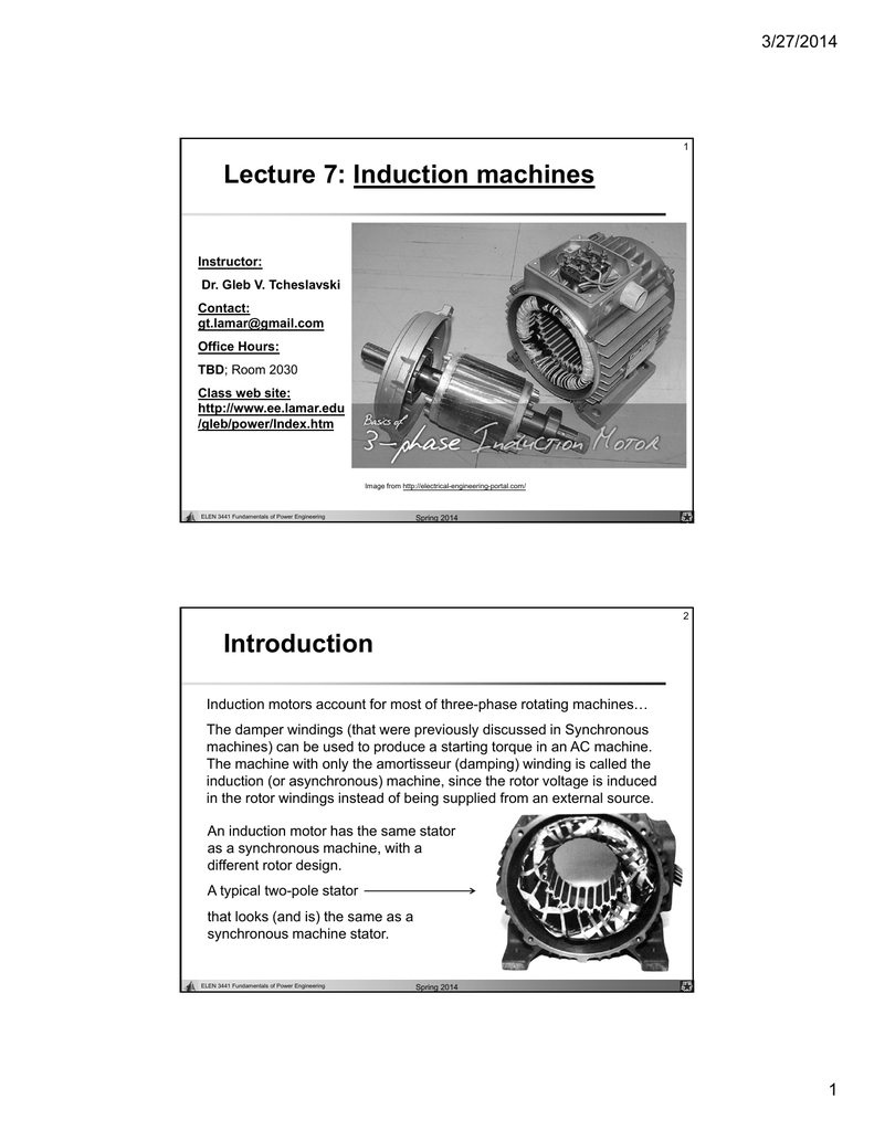 Lecture 7 Induction Machines Lamar Universitys Electrical Circuit Diagram Of Automatic Motor Stater