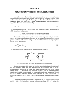 CHAPTER 3 NETWORK ADMITTANCE AND IMPEDANCE MATRICES