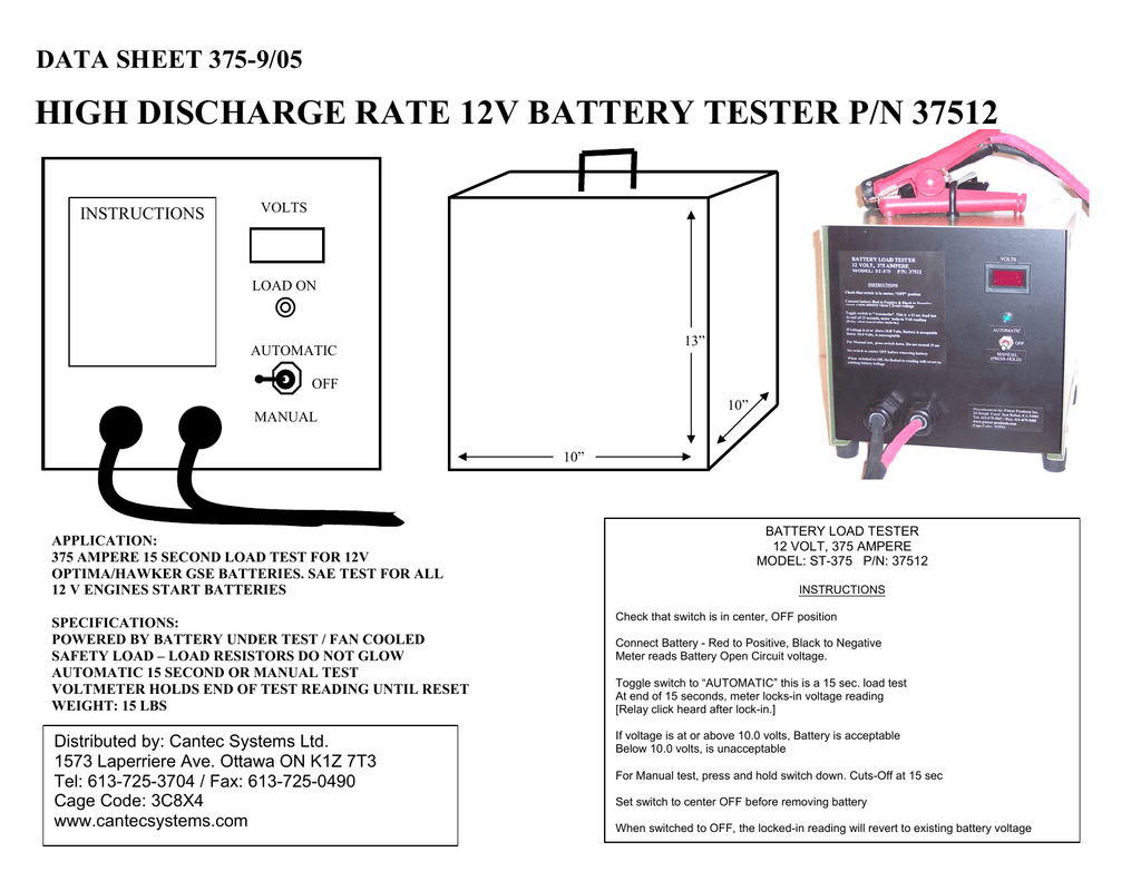Hawker Volt Meter Wiring Diagram Trusted Diagrams 12v Wire High Discharge Rate Battery Tester