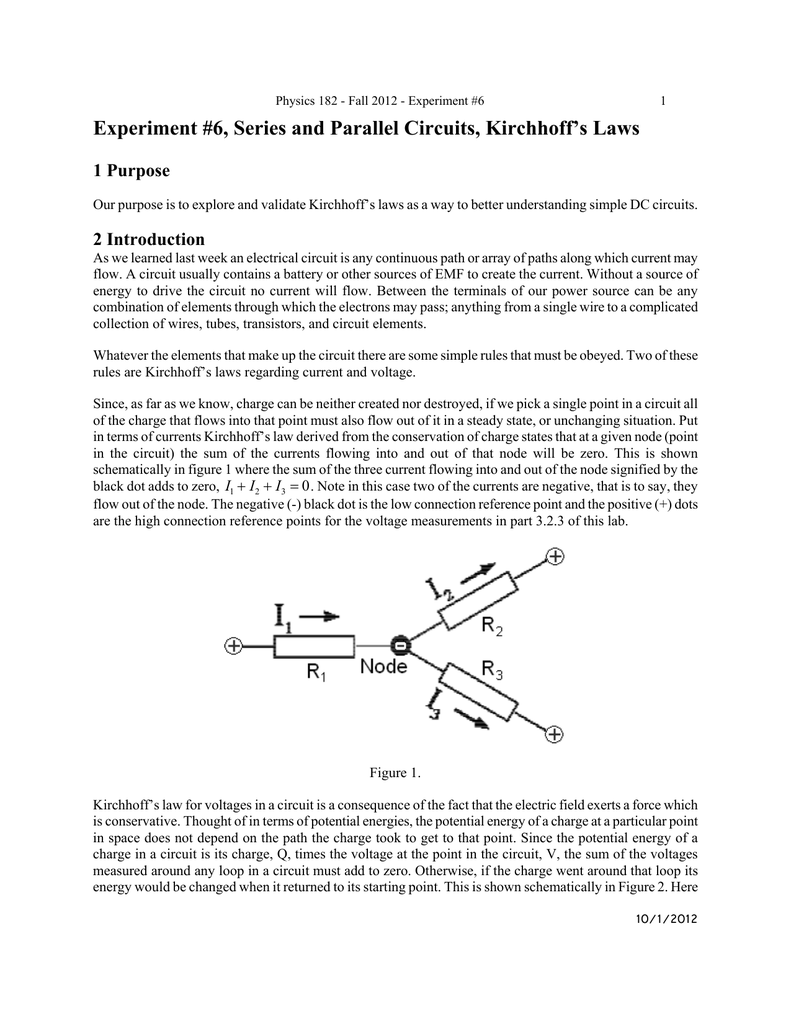 Experiment 6 Series And Parallel Circuits Kirchhoffs Laws Voltage In