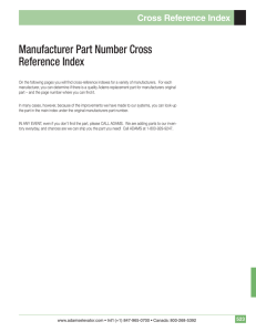 Manufacturer Part Number Cross Reference Index