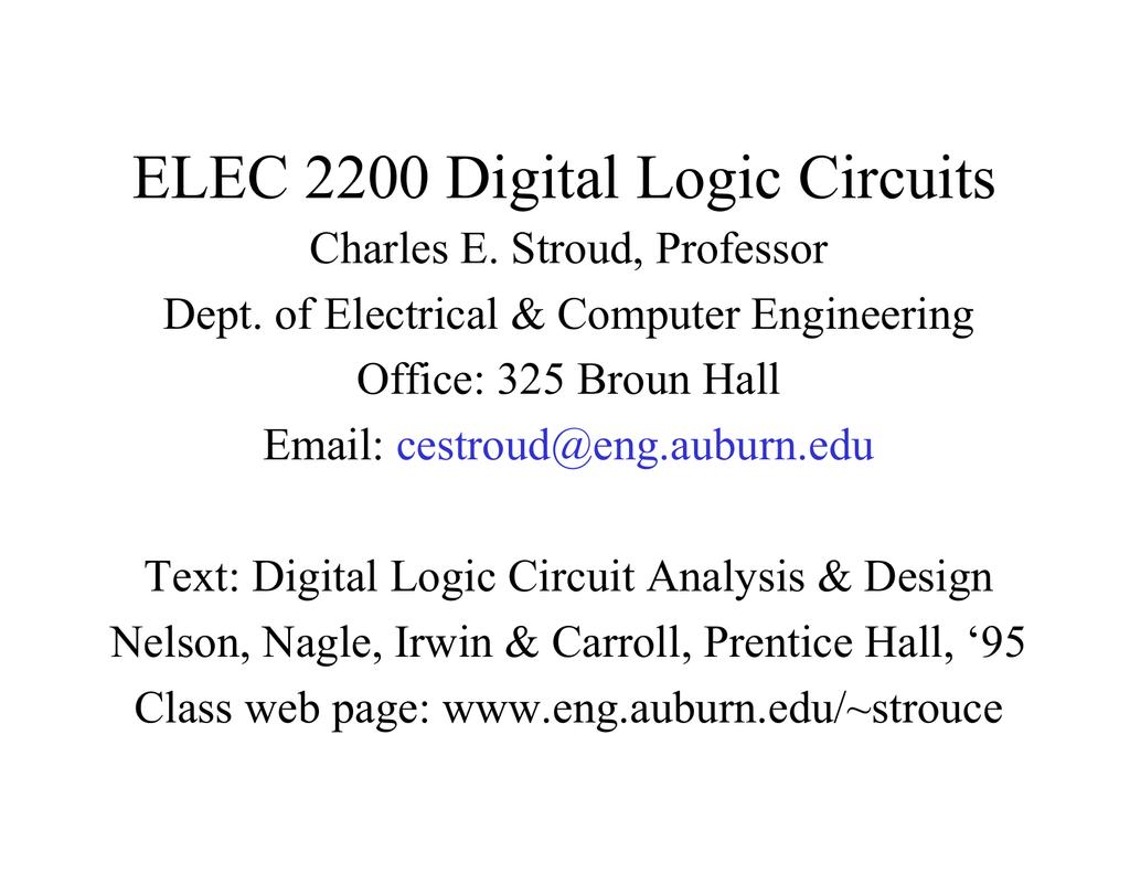 Elec 2200 Digital Logic Circuits Using Gates Lessons In Electric