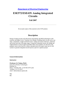 ESE572/ESE419: Analog Integrated Circuits