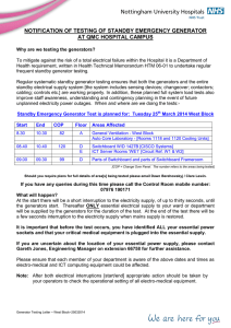 notification of testing of standby emergency generator at qmc