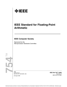 IEEE-754 2008 Standard - Computer Science and Electrical