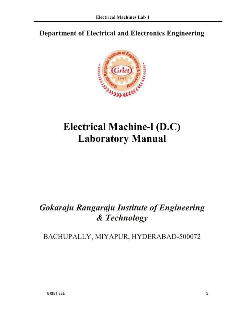 Electrical Machine 1 Lab Manual Pioneer Mosfet 50wx4 Power Ac Or Dc L Laboratory Rh Studylib Net Electric Machines Free Download