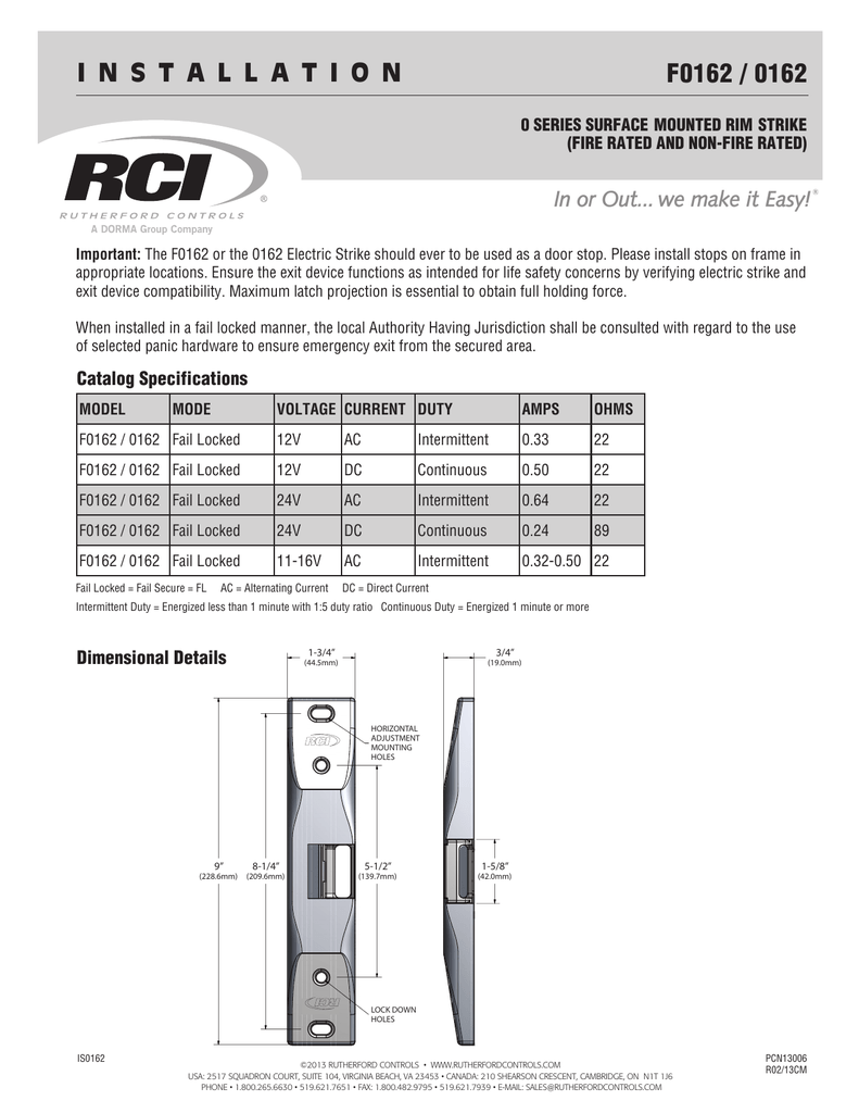 0162 Rim Exit Device Electric Strike Installation Instructions