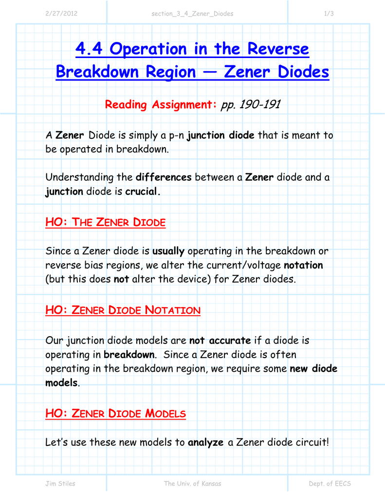 44 Operation In The Reverse Breakdown Region Zener Diodes Diode And A Simple Regulator Circuit