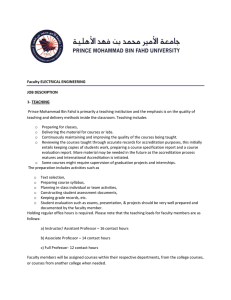 Faculty ELECTRICAL ENGINEERING JOB DESCRIPTION 1