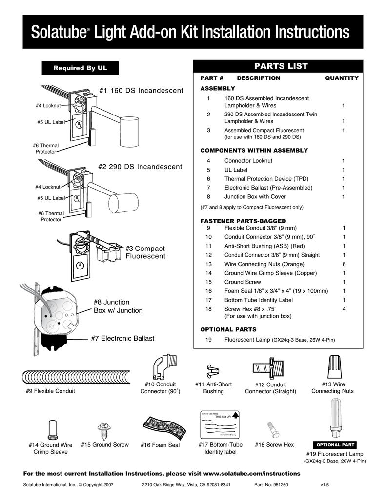 solatube light add-on kit installation instructions � parts list required  by ul part # #1 160 ds incandescent #4 locknut quantity assembly 1 160 ds