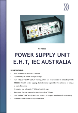 POWER SUPPLY UNIT E.H.T, IEC AUSTRALIA