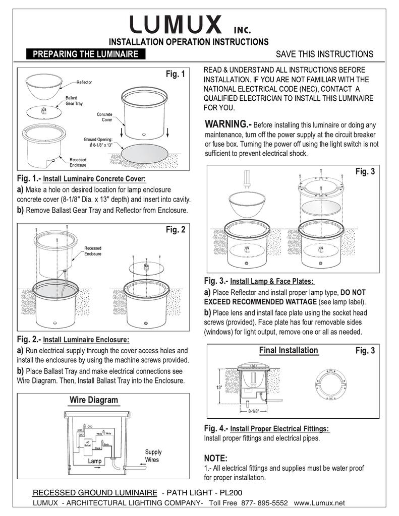 Recessed Ground Luminaire Path Light 4 Ballast Wiring Diagram Parallel