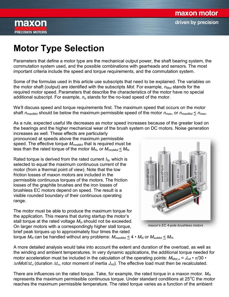 Motor Type Selection