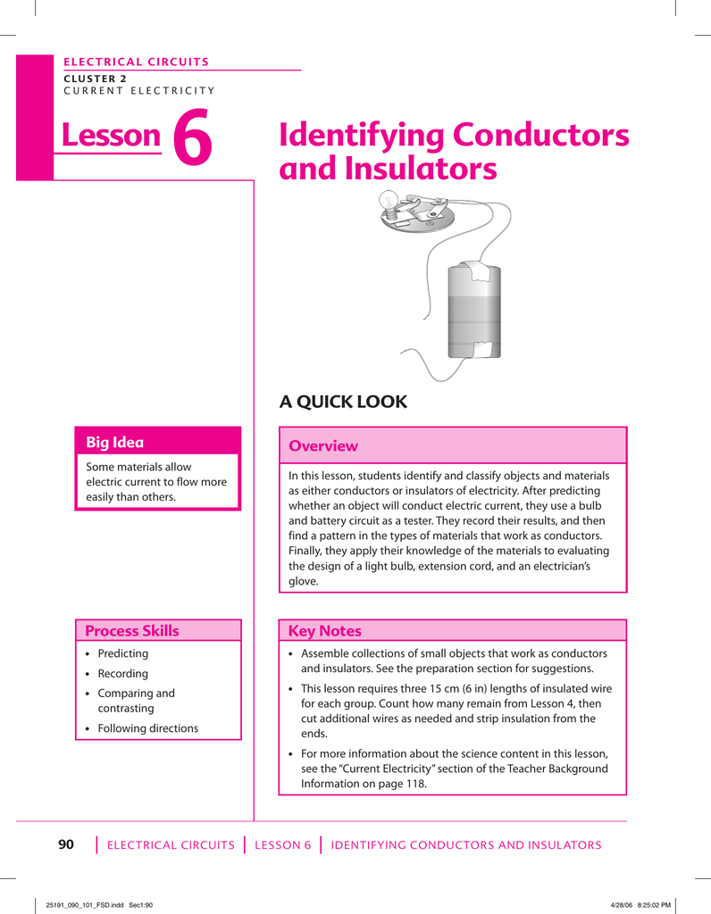 Lesson Identifying Conductors And Insulators 2 How To Use A Battery 3 Make Complete Circuit