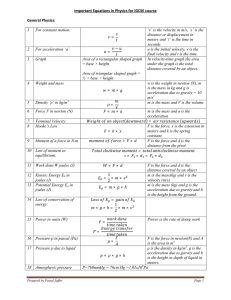 Important Equations in Physics for IGCSE course