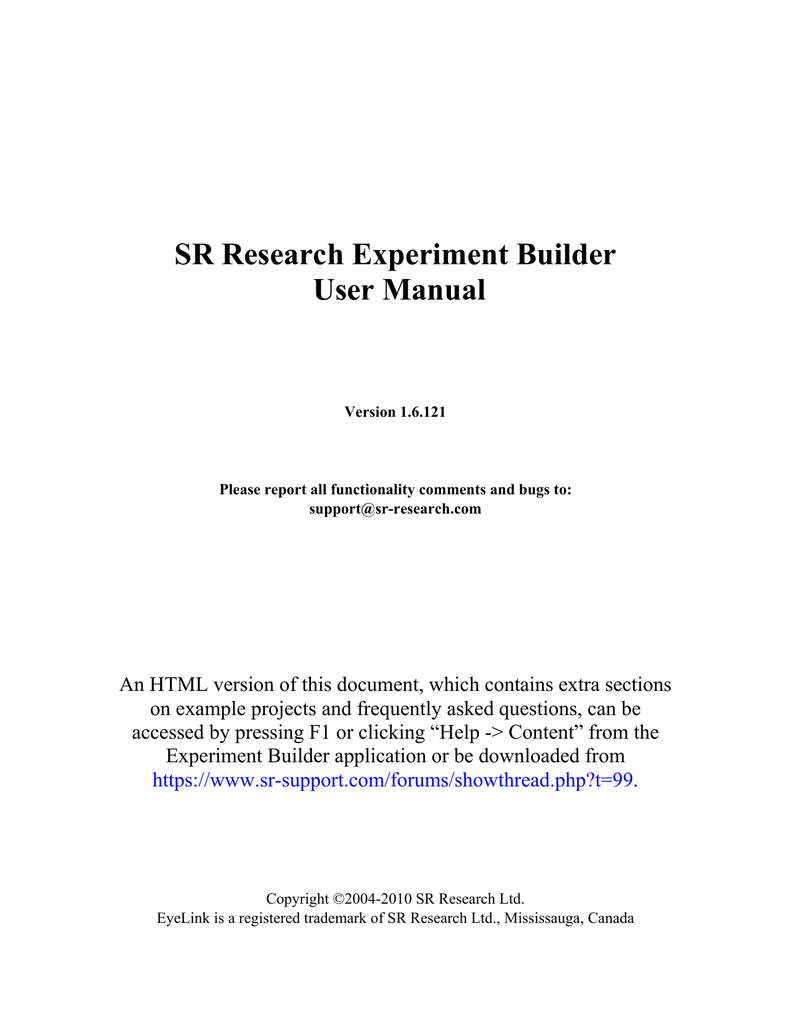 SR Research Experiment Builder User Manual