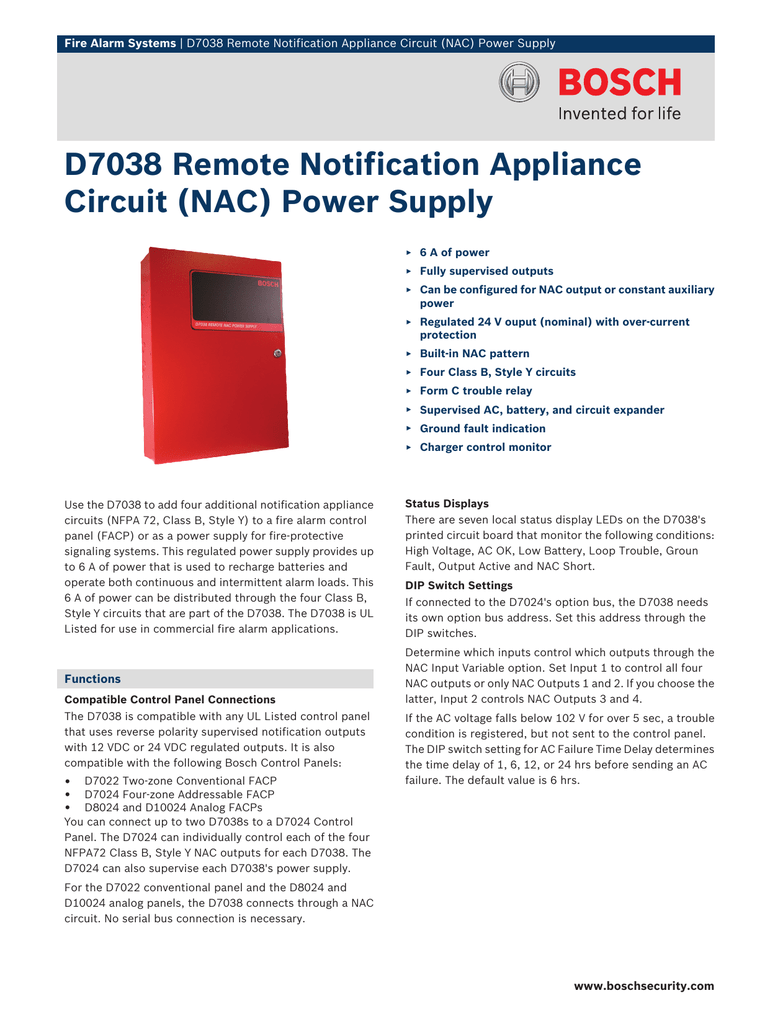 D7038 Remote Notification Appliance Circuit (NAC) Power Supply