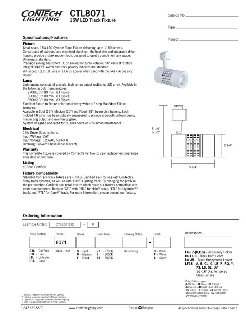 Ctl8071 contech lighting