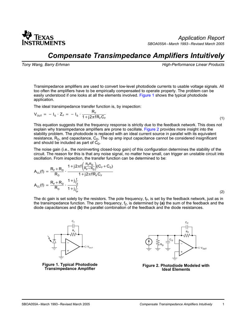 Compensate Transimpedance Amplifiers Proposed Amplifier Schematic