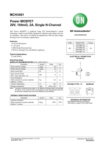 MCH3481 Power MOSFET 20V, 104mΩ, 2A, Single N