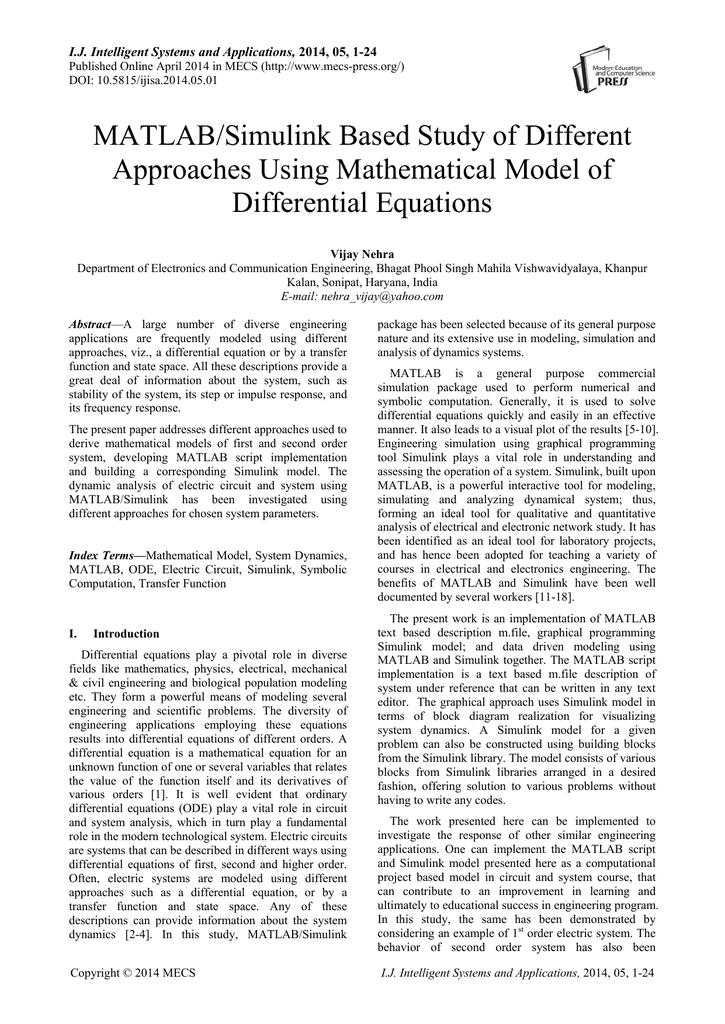 MATLAB/Simulink Based Study of Different Approaches Using