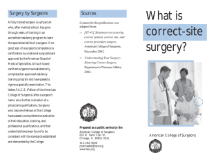 Correct Site Surgery - American College of Surgeons