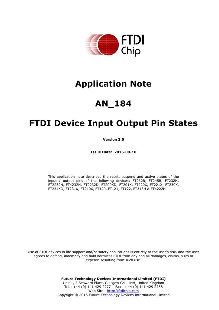 AN_184 FTDI Device Input Output Pin States