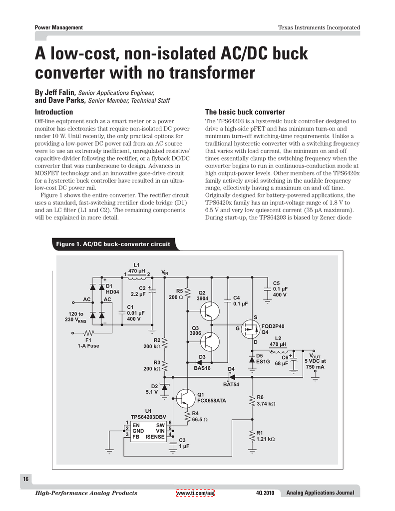 A Low Cost Non Isolated Ac Dc Buck Converter Circuit Solutions Nonisolated Offline To Power Supply By