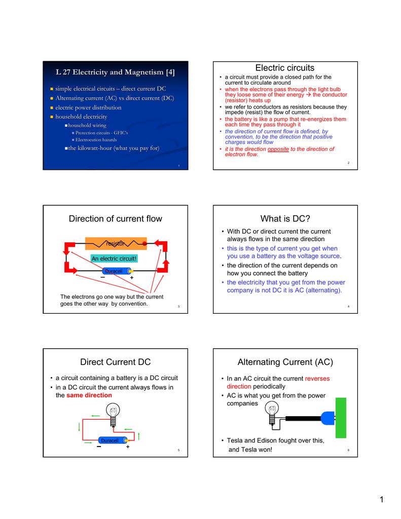 direct current dc alternating current