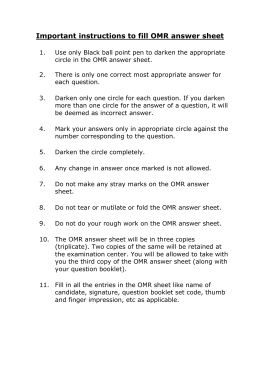 Important instructions to fill OMR answer sheet