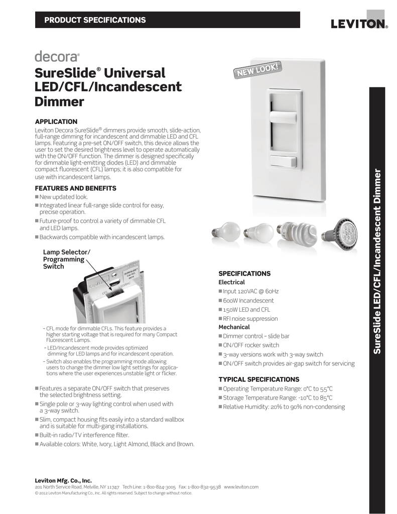SureSlide® Universal LED/CFL/Incandescent Dimmer