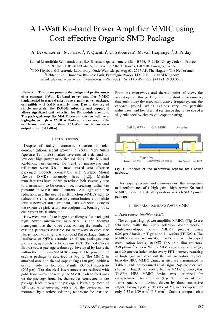A 1-Watt Ku-Band Power Amplifier MMIC Using Cost