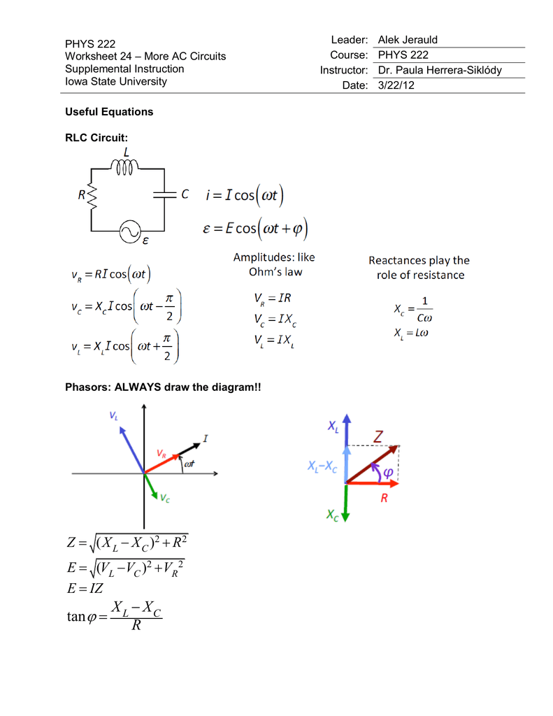 Phys 222 Worksheet 24 More Ac Circuits Circuit For Dummies
