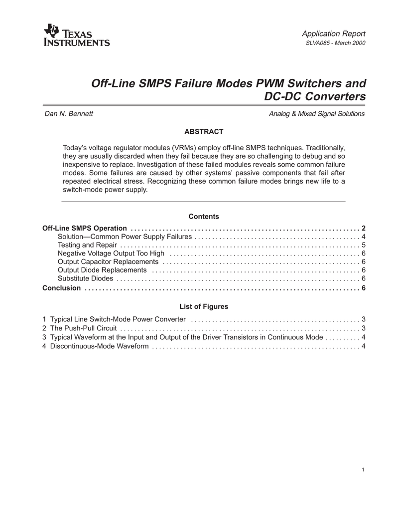 Off Line Smps Failure Modes Pwm Switchers And Dc Switch Mode Supply