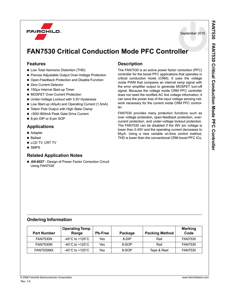 Fan7530 Critical Conduction Mode Pfc Controller Lowpower Comparator With Less Than 10 V Hysteresis Circuit 018059284 1 B3977cdad2f61eebdbfd97a49dd6c6c2
