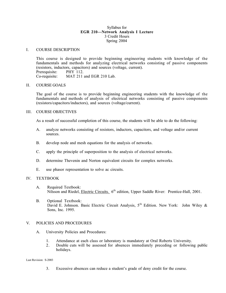 1 Syllabus For Egr 210network Analysis I Lecture 3 Credit Hours Analog Electronics Laboratory Simple Lc Circuits And Ac