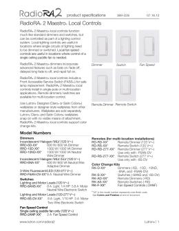 homeworks wired maestro local controls lutron radiora 2 maestro spec sheet