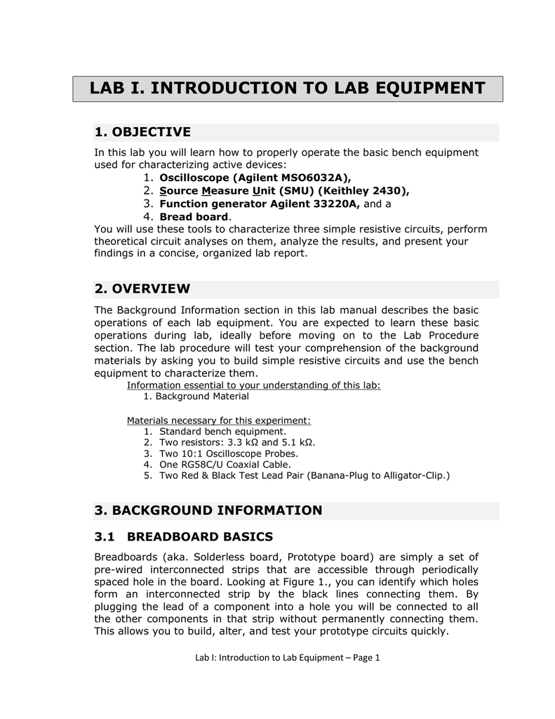 Lab I Introduction To Equipment Simple Function Generator Circuit