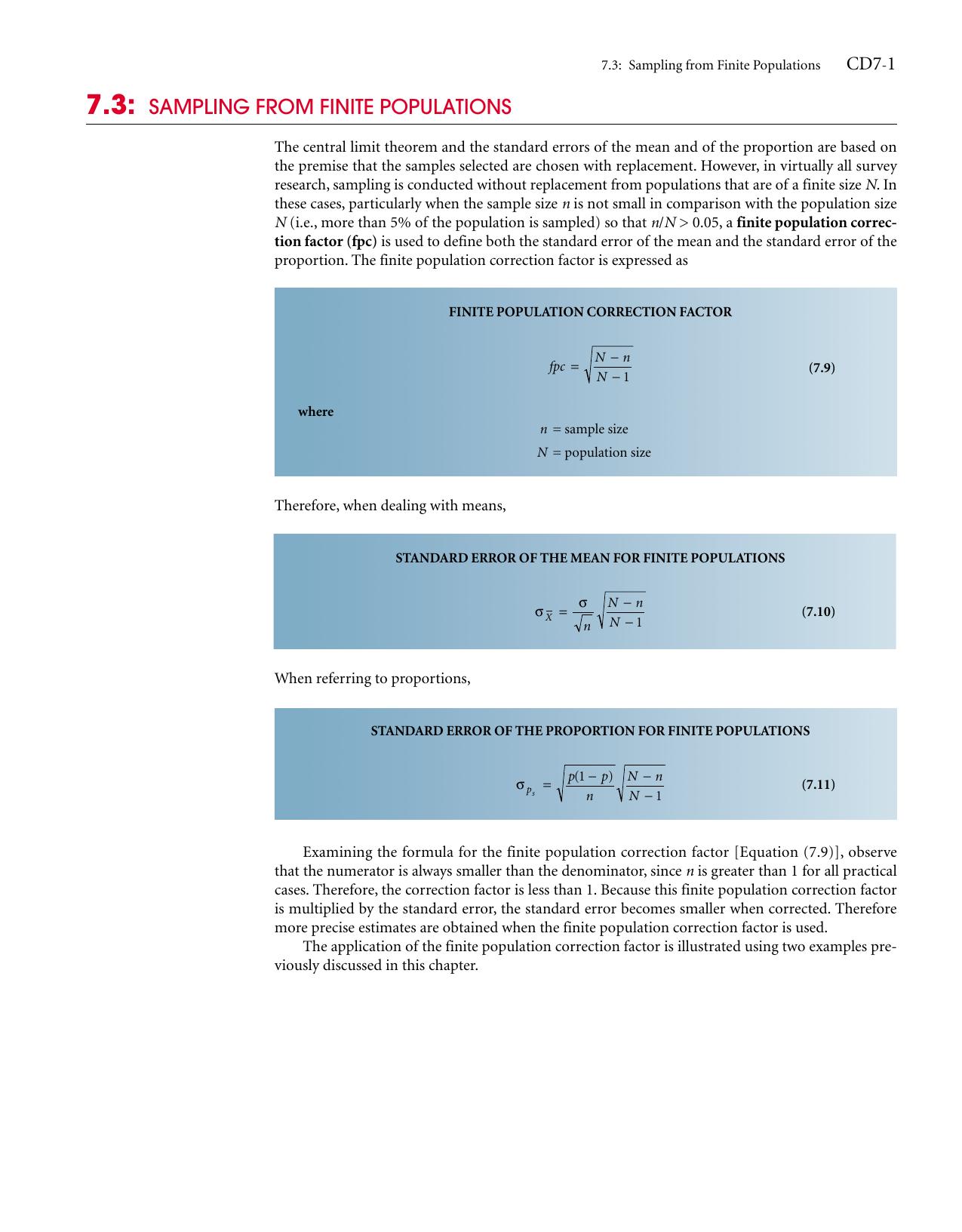7.3: SAMPLING FROM FINITE POPULATIONS