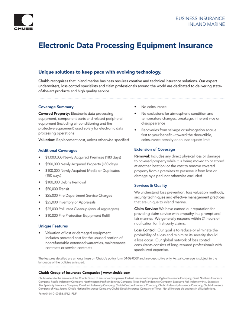 great northern insurance company chubb Electronic Data Processing Equipment Insurance