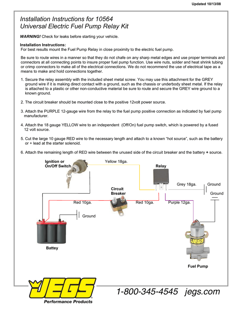 Jegs 10564 Installation Instructions Fuel Pump Wiring Schematic