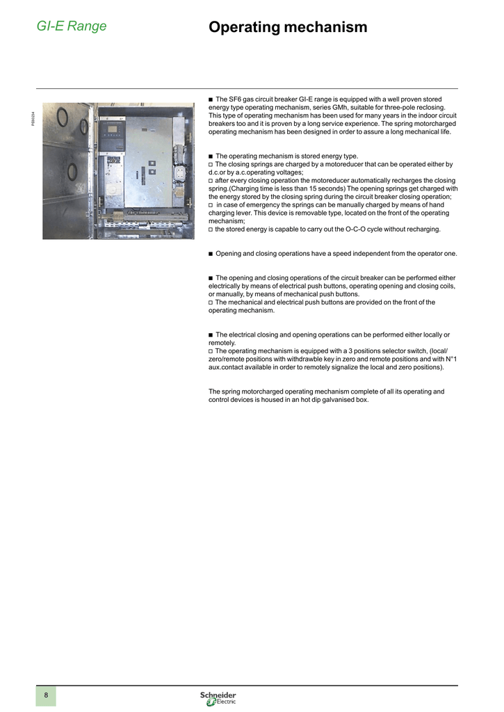 operating mechanism schneider electricThe Closing Device To Ensure Complete Closing Of The Circuit Breaker #10