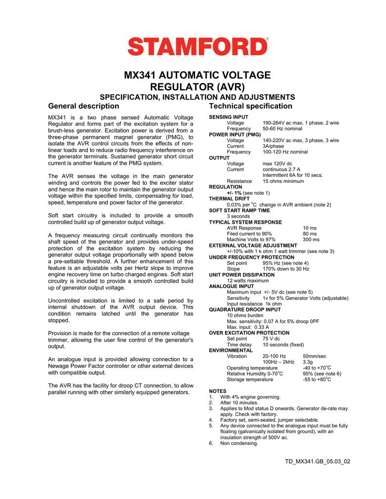 mx341 automatic voltage regulator avr