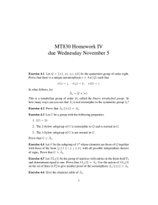 MT830 Homework IV due Wednesday November 5